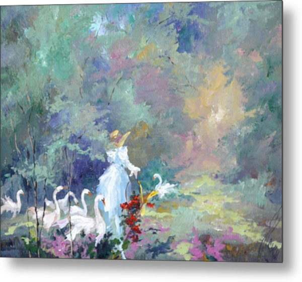 Lady With Geese Metal Print by Steven Nevada