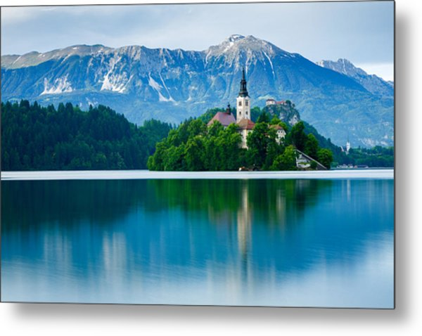 Lake Bled Island Church Metal Print