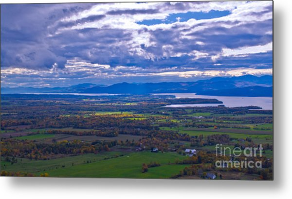 Lake Champlain From The Top Of Mount Philo. Metal Print