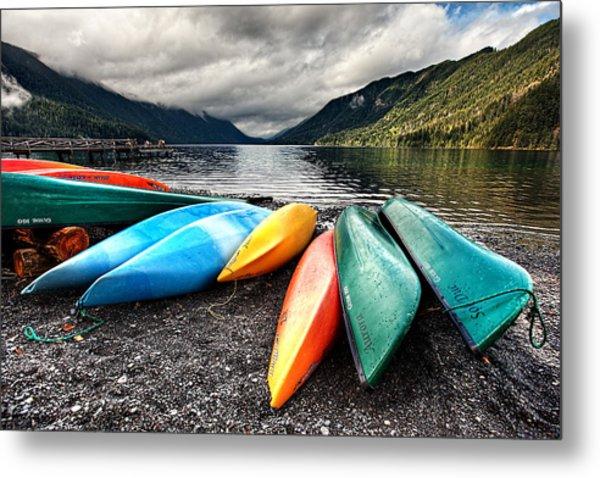 Lake Crescent Kayaks Metal Print