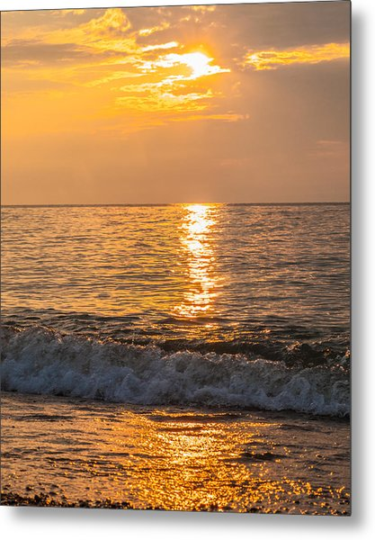 Metal Print featuring the photograph Lake Erie Waves by David Coblitz