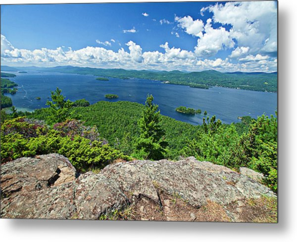 Lake George Shelving Rock Metal Print