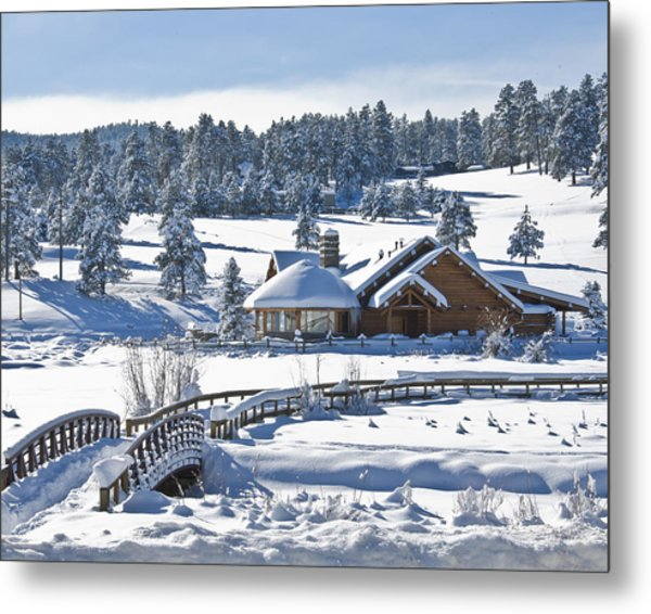 Lake House In Snow Metal Print