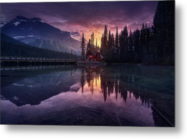Lake House Sunrise Metal Print