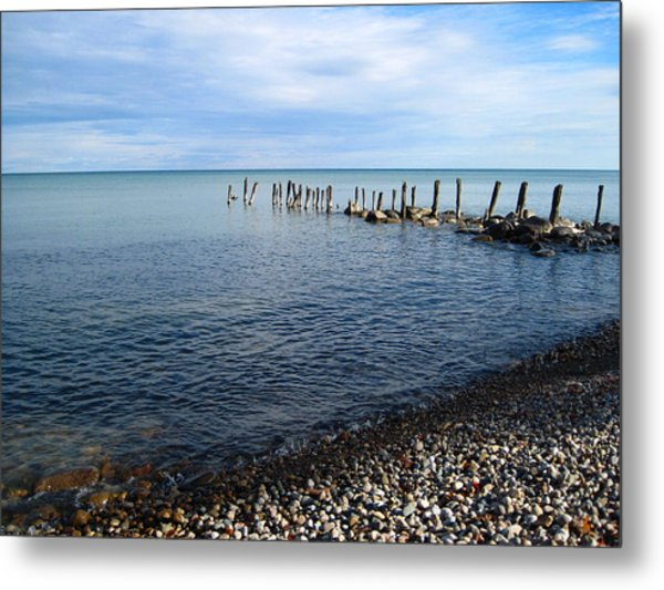 Lake Huron Pilings Metal Print