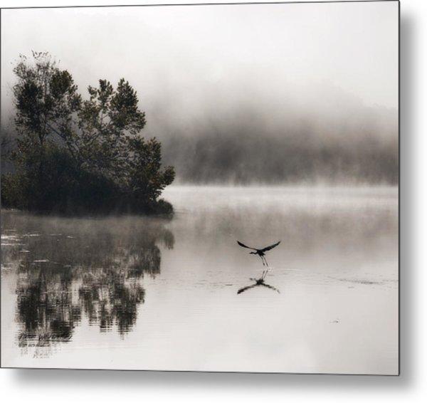 Lake Logan Fog And Heron - Flight Metal Print