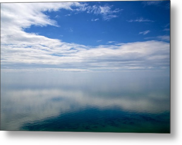 Metal Print featuring the photograph Lake Michigan's Lost Horizon by Mary Lee Dereske
