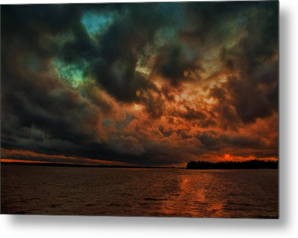 Lake Murray Fire Sky Metal Print
