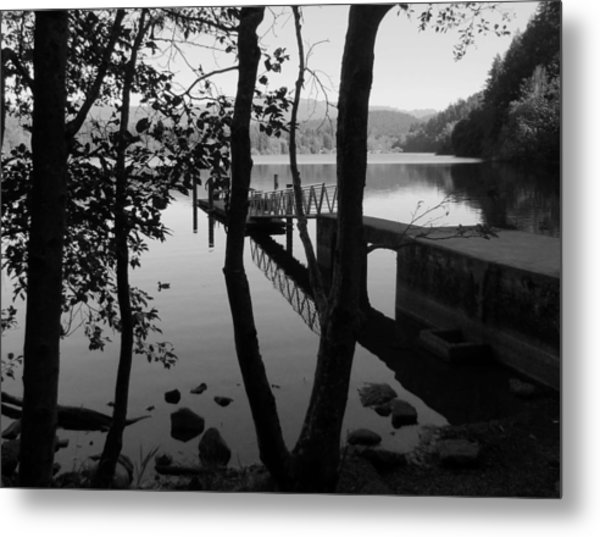 Lake Padden Reflection In Black And White Metal Print