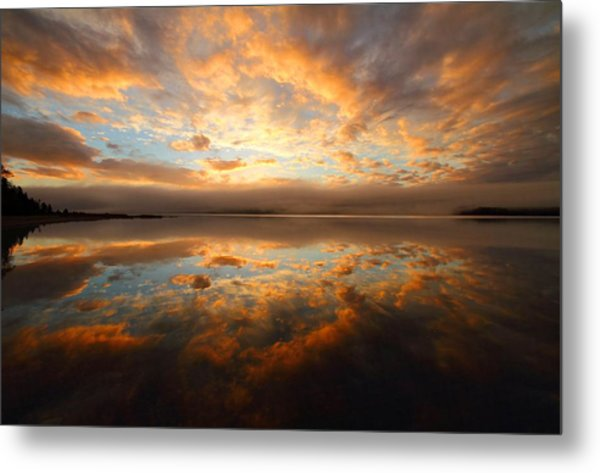 Lake Reflection Sunrise On The Cabot Trail Metal Print