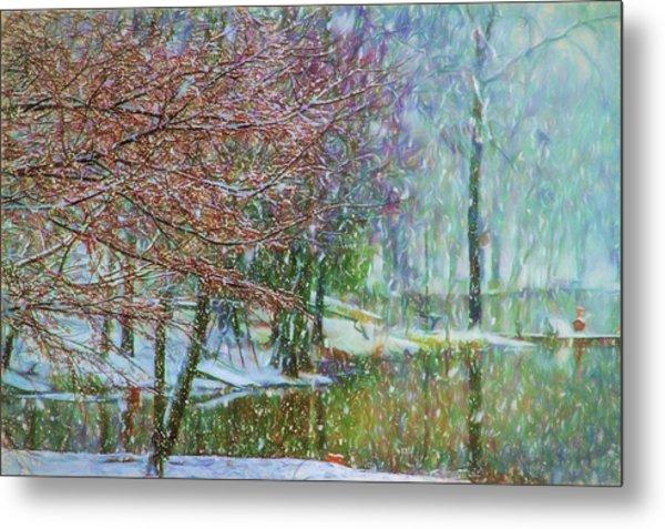 Lake Snowfall - Snowy Winter Landscape Metal Print by Barry Jones