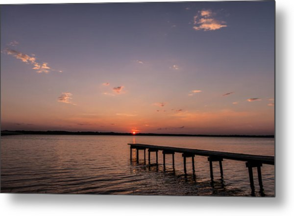 Lake Sunset Over Pier Metal Print