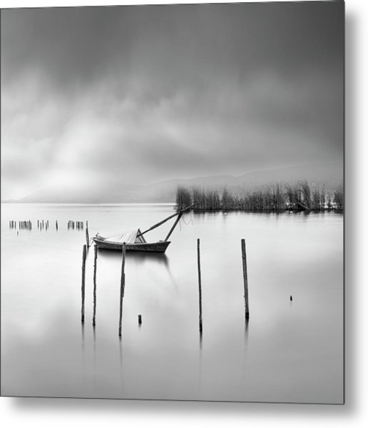 Lake View With Poles And Boat Metal Print