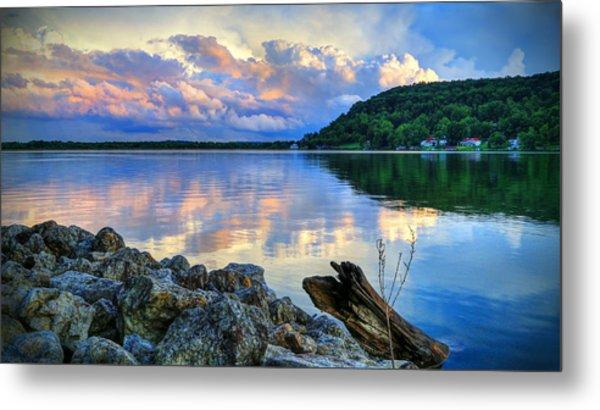 Lake White Sundown Metal Print
