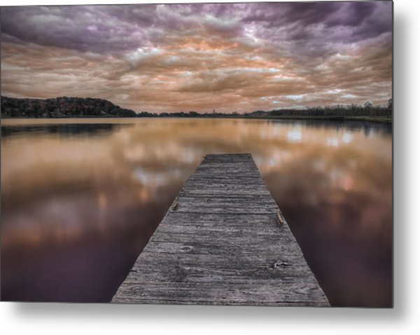 Lake White Twilight Metal Print