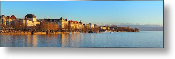 Metal Print featuring the photograph Lake Zurich Panorama by Marc Huebner