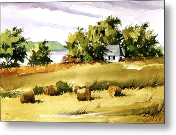 Lakeside Hay Metal Print by Art Scholz