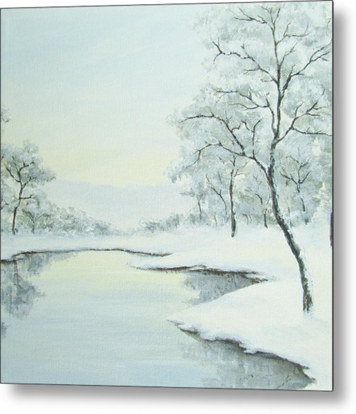 Lakeside In Winter Metal Print by Anna Bronwyn Foley
