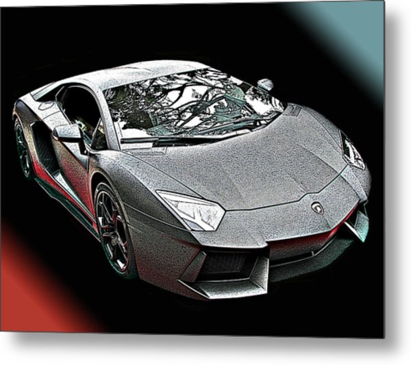Lamborghini Aventador In Matte Black Finish Metal Print