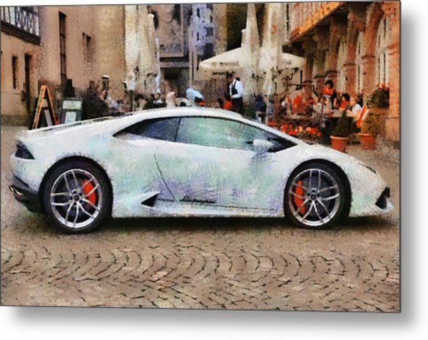 Lamborghini Huracane Lp 610-4 Parked In The City Metal Print