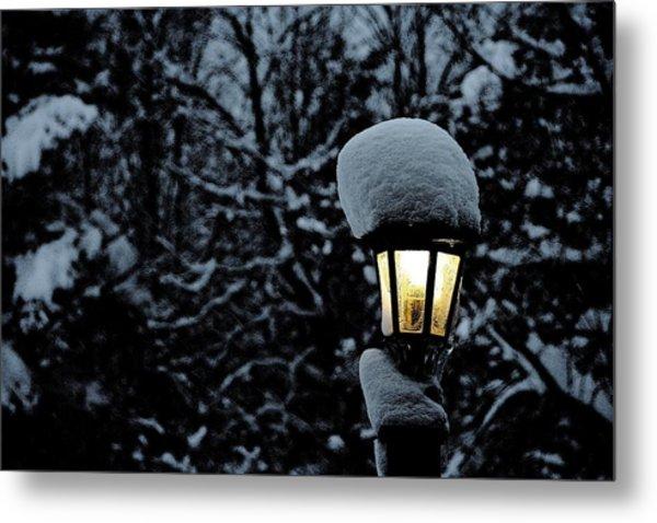 Lamp Light In Winter Metal Print by Carolyn Reinhart
