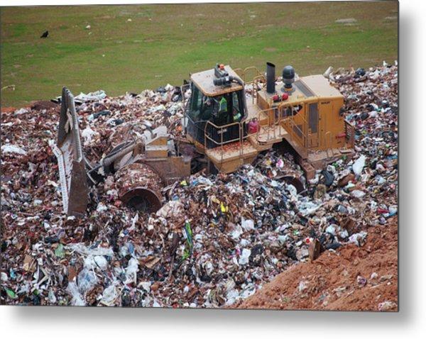 Landfill Waste Disposal Bulldozer Metal Print