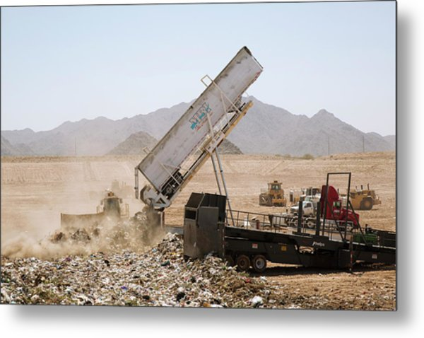 Landfill Waste Disposal Site Metal Print by Peter Menzel