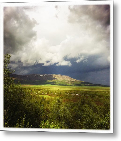 Landscape And Cloudy Sky In Iceland Metal Print