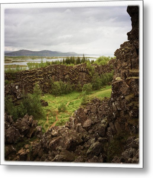 Landscape In Iceland Pingvellir Metal Print