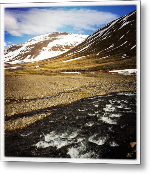 Landscape In North Iceland - River And Mountain Metal Print