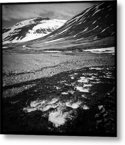 Landscape North Iceland Black And White Metal Print