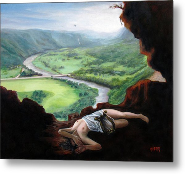 Landscape Of Cueva Ventana With Eurydice Abandoned By Orpheus Transformed Into A Bird Metal Print by Ben  Morales-Correa