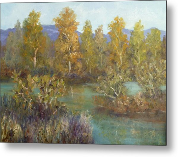 Landscape River And Trees Paintings Metal Print