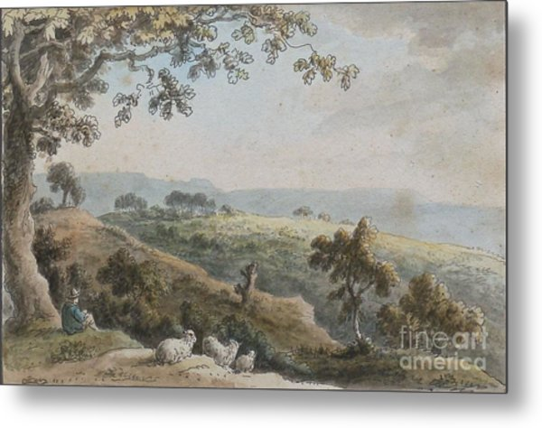 Landscape With A Shepherd And His Sheep Metal Print