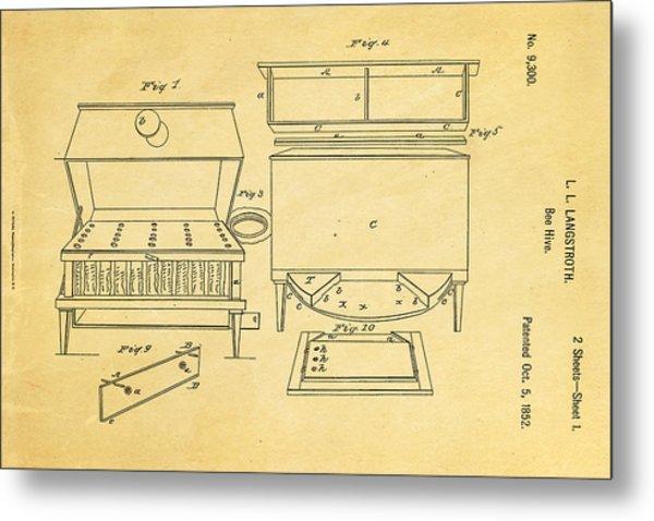 Langstroth Bee Hive Patent Art 1852 Metal Print