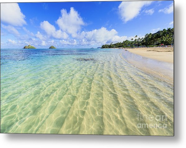 Lanikai Beach Mid Day Ripples In The Sand Metal Print