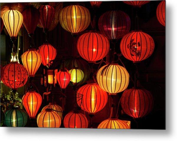 Lantern Shop At Night, Hoi An, Vietnam Metal Print by David Wall