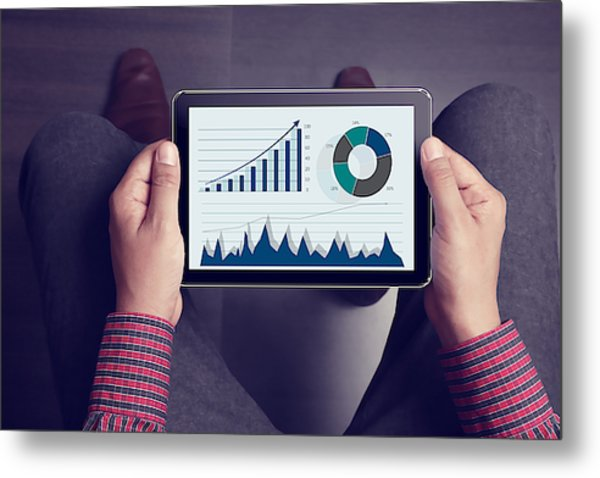 Lap Point Of View Of Man Holding Tablet Metal Print by Triloks