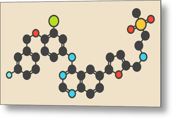 Lapatinib Cancer Drug Molecule Metal Print by Molekuul