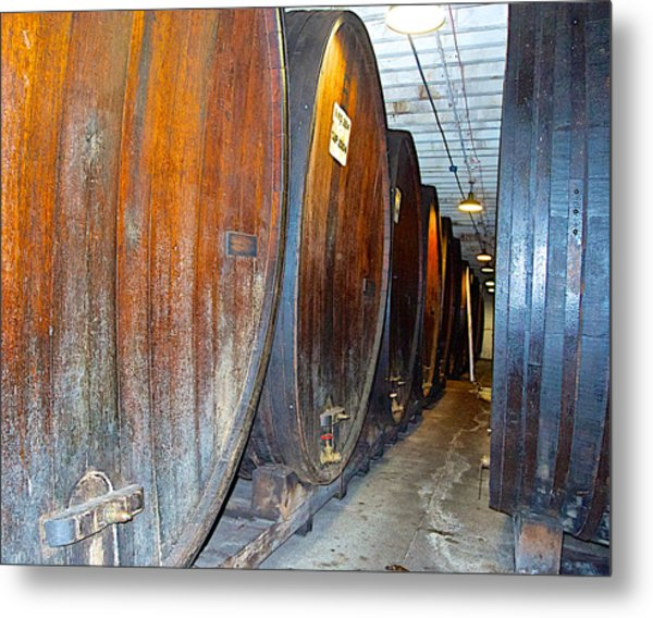 Large Barrels At Korbel Winery In Russian River Valley-ca Metal Print