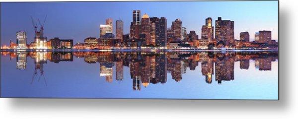 Large Boston City Panorama At Night Metal Print by Buzbuzzer