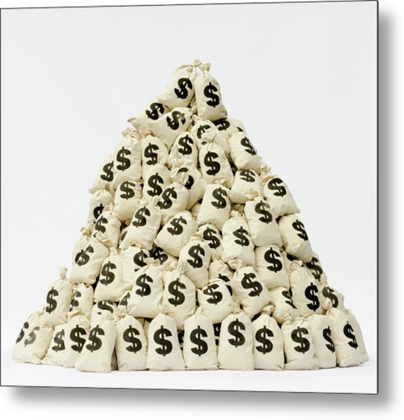 Large Pile Of Money Bags In A Pyramid Metal Print by Pm Images