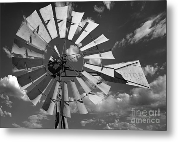 Large Windmill In Black And White Metal Print
