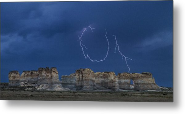 Lariat Lightning At Monument Rocks Metal Print
