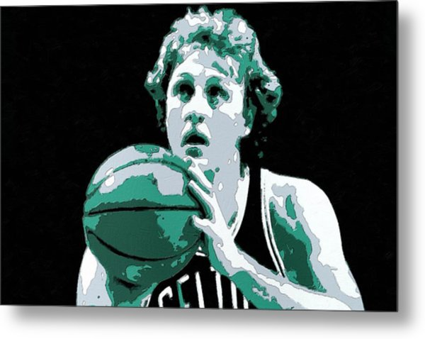 Larry Bird Poster Art Metal Print