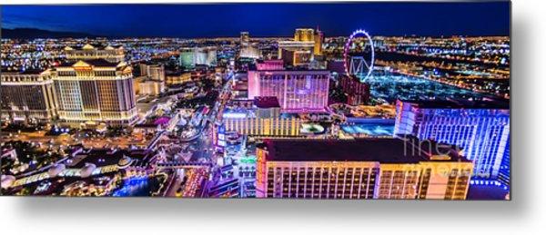 Las Vegas Strip North View 3 To 1 Aspect Ratio Metal Print