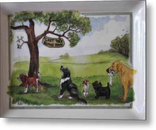 Last Tree Dogs Waiting In Line Metal Print