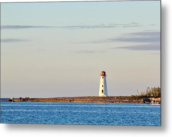 Late Afternoon At Hog Island Lighthouse On Paradise Island Baha Metal Print
