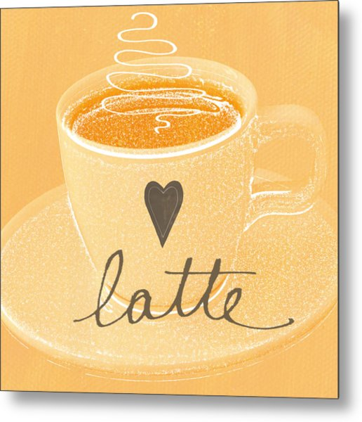 Latte Love In Orange And White Metal Print
