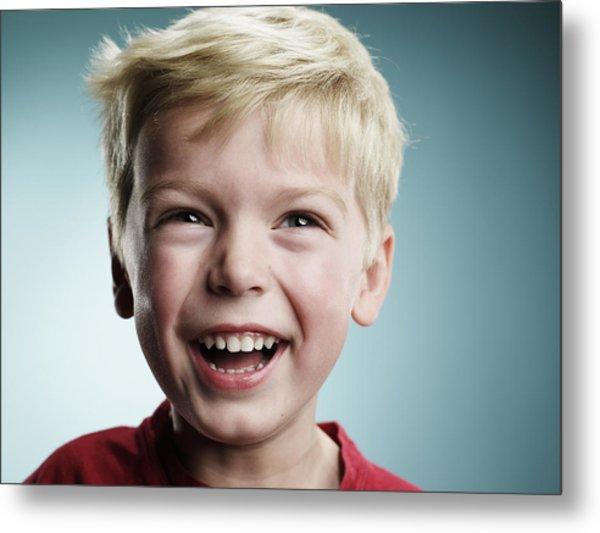 Laughing 4 Year Old Boy Metal Print by Ryan McVay